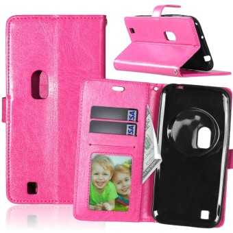 PU Leather Flip Stand Case Cover For Asus Zenfone Zoom ZX551ML (Hot Pink)