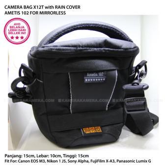 CAMERA BAG X12T AMETIS 102 with RAIN COVER for MIRRORLESS Canon EOS M3, Nikon 1 J5, Sony Alpha, Panasonic Lumix G, Fujifilm X-A3, etc