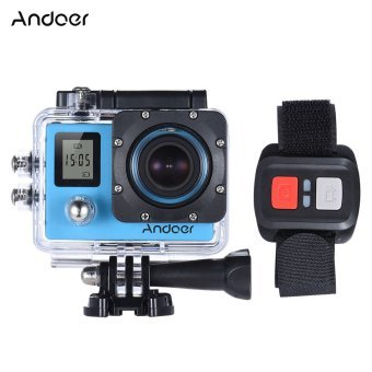 """Andoer 4K 30fps/1080P 60fps Full HD 16MP Action Camera Waterproof 30m WiFi 2.0\""""LCD Sports DV Cam Camcorder 170 Degree 4X Zoom Dual Screen Car DVR w/ Remote Control Outdoorfree"""