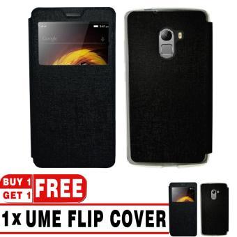 BUY 1 GET 1 | UME Flip Cover Case Leather Book Cover Delkin for Lenovo K4 Note (A7010) - Black + Free UME Flip Cover Case