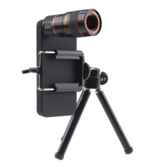 Mobile Phone Telescope Lens 8X Optical Zoom with Universal Clamp + Case for iPhone 5/5S - Hitam