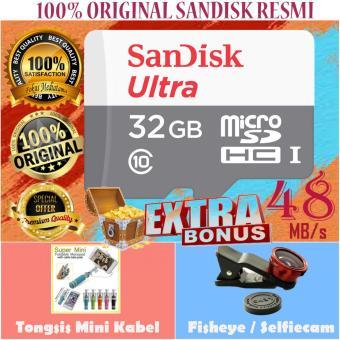 Sandisk Ultra Micro SDHC Class10 48MBs 32GB - Gratis Tongsis Monopod Mini Kabel Fisheye Selfiecam. >>>>
