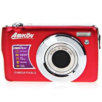 "AMKOV HD Digital Camera Video Camcorder 15MP 2.7\"" TFT LCD Anti-shake Screen 4X Optical Zoom - Red - Intl"