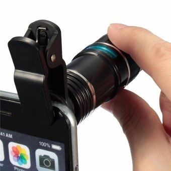 Universal 12X Zoom Optical Clip Telephoto Telescope Camera Lens For Mobile Phone Lens Camera Zoom(black) - intl