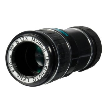 Universal 12X Zoom Optical Clip Telephoto Telescope Camera Lens For Mobile Phone Lens Camera Zoom(black) - intl