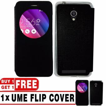 "BUY 1 GET 1   UME Flip Cover Case Leather Book Cover Delkin for Asus Zenfone Go ZC500TG (5\"") - Black + Free UME Flip Cover Case"