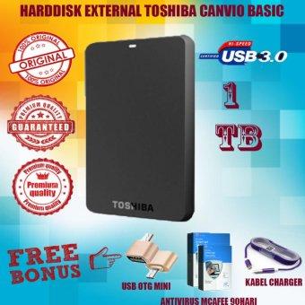 Jual Toshiba Canvio Basic 1TB - HDD / HD / Hardisk Eksternal - Hitam - Gratis Usb Otg Mini Reader + Kabel Charger Micro Tali Warna + Antivirus McAfee 90Hari Harga Termurah Rp 999000.00. Beli Sekarang dan Dapatkan Diskonnya.