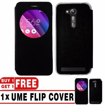 "BUY 1 GET 1   UME Flip Cover Case Leather Book Cover Delkin for Asus Zenfone Go ZB452KG (4,5\"") - Black + Free UME Flip Cover Case"