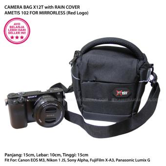 CAMERA BAG X12T AMETIS 102 with RAIN COVER for MIRRORLESS Canon EOS M3, Nikon 1 J5, Sony Alpha, Panasonic Lumix G, Fujifilm X-A3, etc