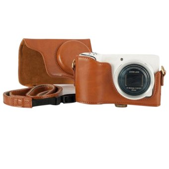 PU Leather Detachable Case Cover Bag for Samsung Galaxy Camera EK-GC100 with Strap Brown