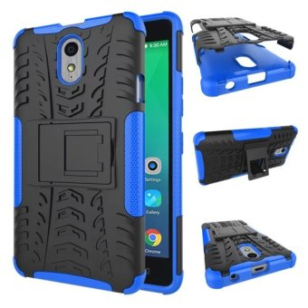 Moonmini Hybrid Combo Body Armor Shockproof Case with Kickstand for Lenovo Vibe P1m (Blue)