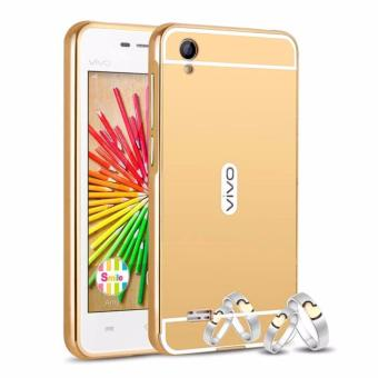 Case Aluminium Bumper Mirror For Vivo Y15 - Gold .