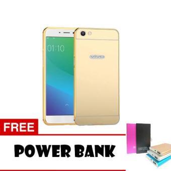 Case Metal Vivo Y55 Bumper Mirror Slide - Gold + Free PowerBank