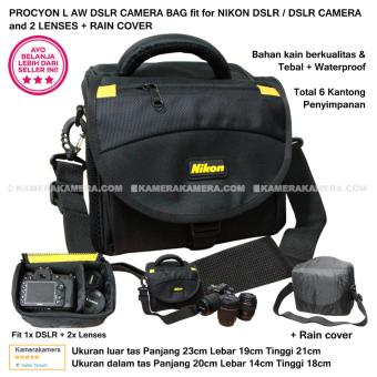 PROCYON L AW NIKON CAMERA BAG for DSLR / DSLR CAMERA and 2 LENSES + RAIN COVER Compatible with Canon DSLR Nikon Panasonic Sony Fujifilm Samsung Olympus