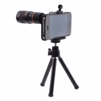 Mobile Phone Telescope Lens 8X Optical Zoom With Universal Clamp + Case For IPhone 5/5S/SE - Black