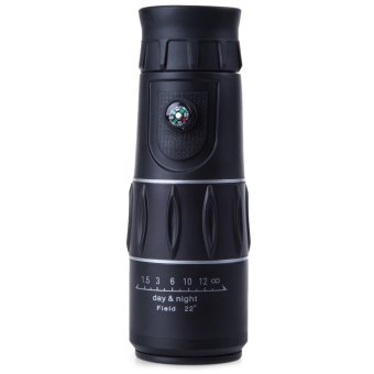 16 x 52 Zoom Monocular Telescope Low Light Level Night Vision Optics Zoom Lens with Compass Black