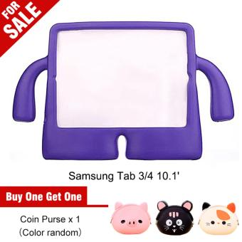 Portable Multi-functional Kids Thick Foam EVA Protective Cover Mini Anti-drop Flat Bracket for Samsung tab 3/4 10.1' (Purple) - intl
