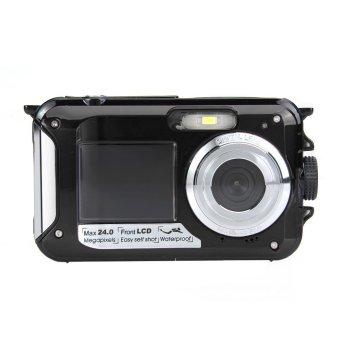 "AMKOV CDW599 HD Digital Camera Dual Screen 24MP 2.7\"" TFT LCD 16X Zoom Black - intl"
