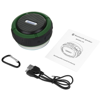 ZUNCLE Portable Waterproof Bluetooth 3.0 Outdoor/Shower Speaker w/ Microphone, Suction Cup & Snap Hook - Army Green + Black