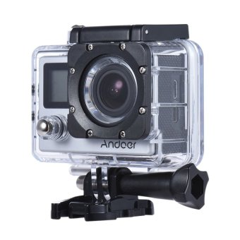 """Andoer 4K 30fps/1080P 60fps Full HD 16MP Action Camera Waterproof 30m WiFi 2.0\""""LCD Sports DV Cam Camcorder 170 Degree 4X Zoom Dual Screen Car DVR w/ Remote Control"""