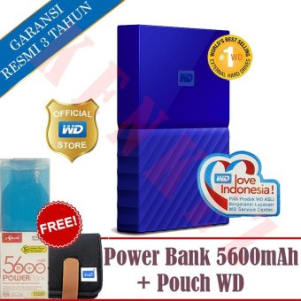 WD My Passport New Design 2TB25InchUSB30 - Biru+Free Pouch+Powerbank. >>>>