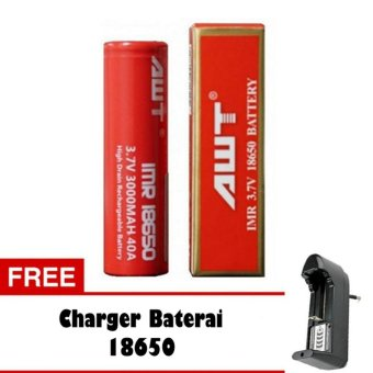 AWT Baterai 3000 mAh Tipe 18650 Rechargeable Li-ion - Merah + Free Charger. >>>>