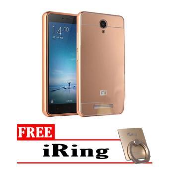 Harga Bumper Mirror Xiaomi Redmi Note 2 - Rose Gold + Free iRing