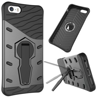 Heavy Duty Shockproof Dual Layer Hybrid Armor Protective Cover with 360 Degree Rotating Kickstand Case for iPhone 5 / 5S SE - intl