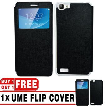 BUY 1 GET 1   UME Flip Cover Case Leather Book Cover Delkin for Vivo Y35 - Black + Free UME Flip Cover Case