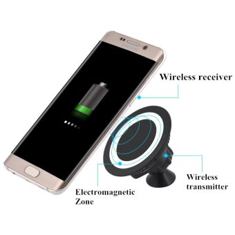 360 Rotating Magnetic Car Holder Wireless Charger for Smartphone - Black