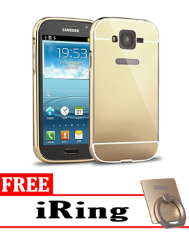 Case for Samsung Galaxy Grand Neo Aluminium Bumper With Mirror Backdoor Slide – Gold + Free iRing