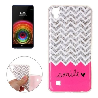 For LG X Power Concise Style Wave Line And Words Pattern TPU Soft Protective Back Cover