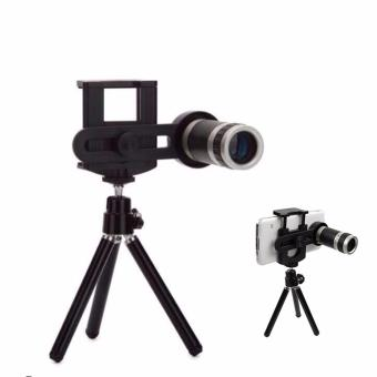 Mobile Phone 8x Zoom Telescope Lensa + Tripod Holder