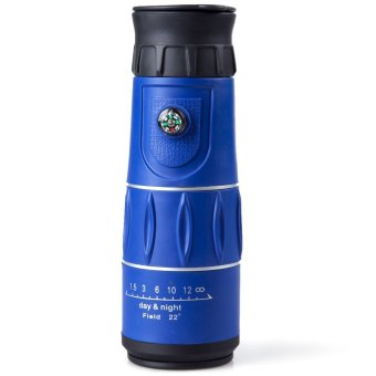 16 x 52 Zoom Monocular Telescope Low Light Level Night Vision Optics Zoom Lens with Compass Blue