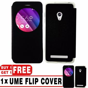 "BUY 1 GET 1   UME Flip Cover Case Leather Book Cover Delkin for Asus Zenfone 5 (5\"") - Black + Free UME Flip Cover Case"