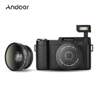 "Andoer CDR2 1080P 15fps Full HD 24MP Digital Camera 3.0"" Rotatable LCD Screen Anti-shake 4X Digital Zoom Built-in Retractable Flashlight Video DV Recorder Cam Camcorder w/ Wide-angle Lens & UV Filter - intl"