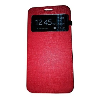 Ume Flip Shell / FlipCover for Samsung Galaxy J1 Ace J110 Leather Case / Sarung HP / View - Merah