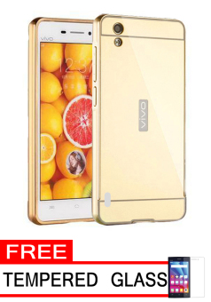 Case for Vivo Y15 Aluminium Bumper With Mirror Backdoor Slide - Gold + Gratis Tempered Glass ...
