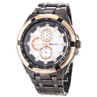 360DSC JUBAOLI 8018 jam tangan pria analog kuarsa Baja Anti Karat dengan tiga dekoratif sub-dial - Keemasan + putih + Hitam
