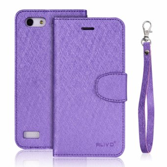 Harga Silk Leather Wallet Flip Cover Case For OPPO A33 NEO 7 Violet