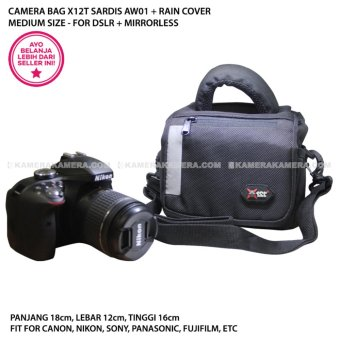 CAMERA BAG X12T SARDIS AW01 + RAIN COVER MEDIUM SIZE - FOR DSLR + MIRRORLESS CANON, NIKON, SONY, PANASONIC, FUJIFILM, ETC