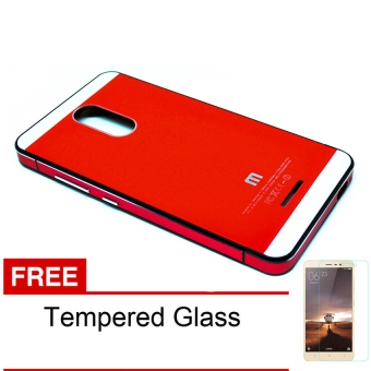 Casing Handphone Aluminium Case for Xiaomi Redmi Note 3 Pro – Red + Free Tempered Glass