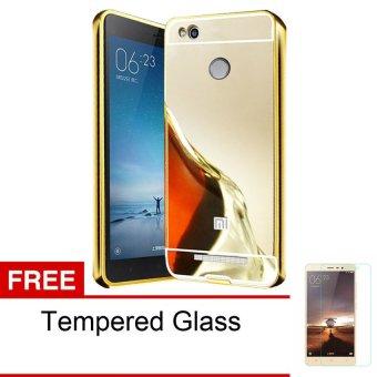 Case For Xiaomi Redmi 3 Pro Aluminium Bumper With Backcase Mirror - Gold + Free Tempered