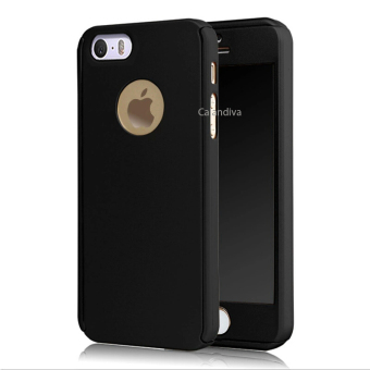 Calandiva Front Back Protection Case 360 Degree With Tempered Glass for Iphone 5 / 5s / 5SE – Black