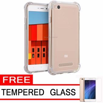 Case Anti Shock Anti Crack Elegant Softcase for Xiaomi Redmi 4A - White Clear + Free · >>>>