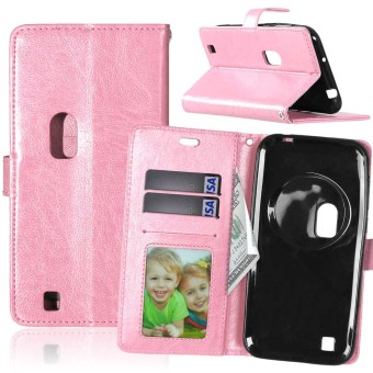 PU Leather Flip Stand Case Cover For Asus Zenfone Zoom ZX551ML (Pink)