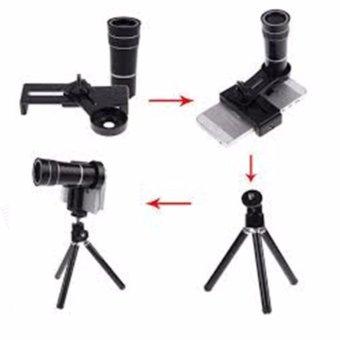 Mobile Phone Telescope Universal 8x Optical Zoom / Teropong Lensa Zoom - Hitam