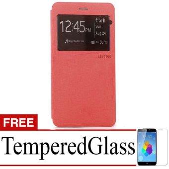 Ume Flip Cover Lenovo A6010 - Merah + Gratis Tempered Glass