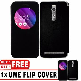 """BUY 1 GET 1   UME Flip Cover Case Leather Book Cover Delkin for Asus Zenfone 2 ZE550ML/ZE551ML (5,5\"""") - Black + Free UME Flip Cover Case"""