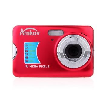 "AMKOV 12MP 2.7\"" TFT LCD HD Digital Camera Video Camcorder with Anti-shake 8X Digital Zoom (Red) - Intl"